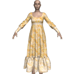 Long Ruffle Gown - Gold-n-Yellow Flowers