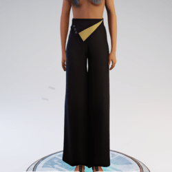Palazzo Pants - Black and Gold Polyester