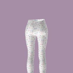 Ladies PVC look White Flower pattern Leggings