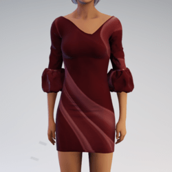 Bell-sleeve Dress - Red Mod