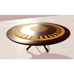Round Wooden Table With Inlays 01