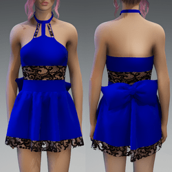 Royal Blue Cute Partydress with a Bow and Lace