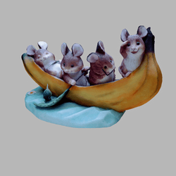 Cute Hamsters in a Banana Boat (Hamster Dormice Dormouse Mice Mouse)