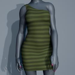 One Shoulder Striped Dress - Green