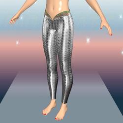 Female Silver Metallic Mermaid Leggings_AV2.0