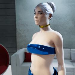 Female Cosmos Midnight-Blue Metallic Strapless-Top