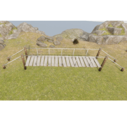 Wooden Bridge with Ropes + light Railings - walkable