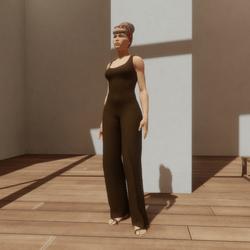 TKA-Jumpsuit brown cotton