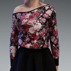 Cozy Roses5 Pattern Pullover oneshoulderfree