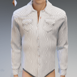 White & Stripes Long Sleeves Shirt - Male