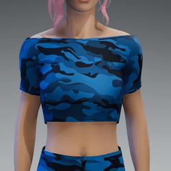 Basic Camouflage Blue Crop Top
