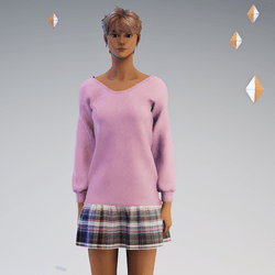 Sweater and Gathred Mini - Pink with Brown