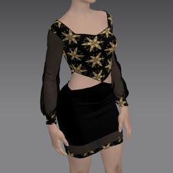 Flirty Dress with Golden Flower