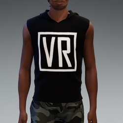 Black VR Hooded Shirt without Sleeves for Men