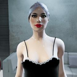 Female Black Dress with Diamonds