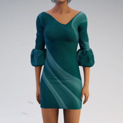 Bell-sleeve Dress - Seafoam Mod