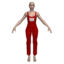 Hemmed Overalls (Red Lace)
