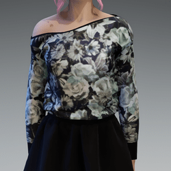 Cozy Roses4 Pattern Pullover oneshoulderfree