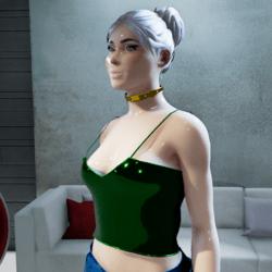 Female Cosmos Midnight-Green Metallic Top