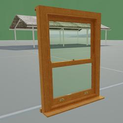 Box Sash Window with Furniture No Bars OAK