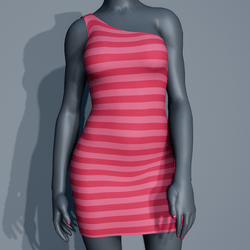 One Shoulder Striped Dress - Pink