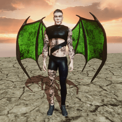 Demon Wings (Male and Female) Succubs and Incubus (Green)
