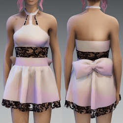 Holo Cute Partydress with a Bow and Lace