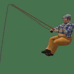 Angler Rudolf sitzt