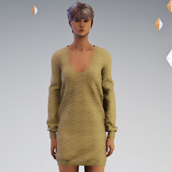 Quilted Sweater Dress Tan - Avatar 2.0