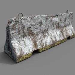 damaged concrete barrier
