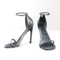 Ankle strap sandals for Nicci - glitter silver white