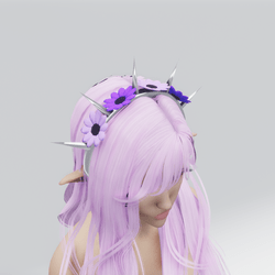 Spiked Flower Headband (Purple)