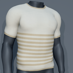 Men - Stripes Tee-Shirt - Cream