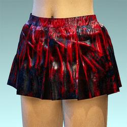 Folded Schort Skirt Black Red Latex