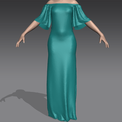 Low shoulder Gown Teal