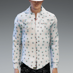 Male - White with Red Hearts Long Sleeves Shirt AV2.0