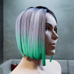 Hair Maya two tone green  tintable