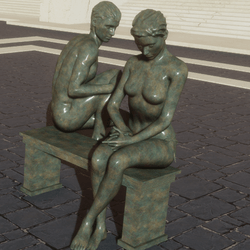 STATUES WITH BENCH