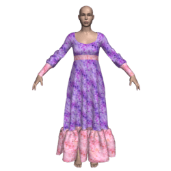 Long Ruffle Gown - Purple-n-PeachyPink Flowers