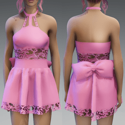 Pastel Pink Cute Partydress with a Bow and Lace