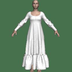 Long Ruffle Gown - White