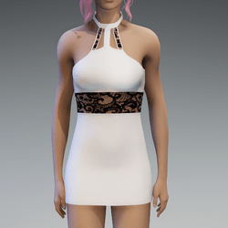 White and Black Lace Partydress