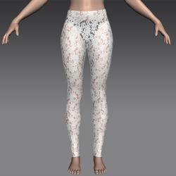 White Rose Lace Leggings