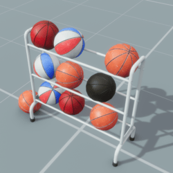 Basketballs and Rack Set
