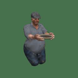Tramp mit Schale