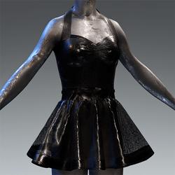 Latex Rubber Dress Short Black translucent