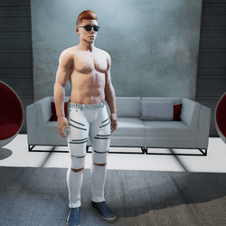 Male White Jeans 18-Checkered-Zippers & Studs