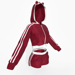 Hoodie and Shorts Red