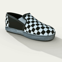 Slip-On  Shoes Checkerboard Black White Male