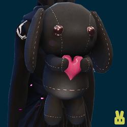 Plush bunny - hand - black